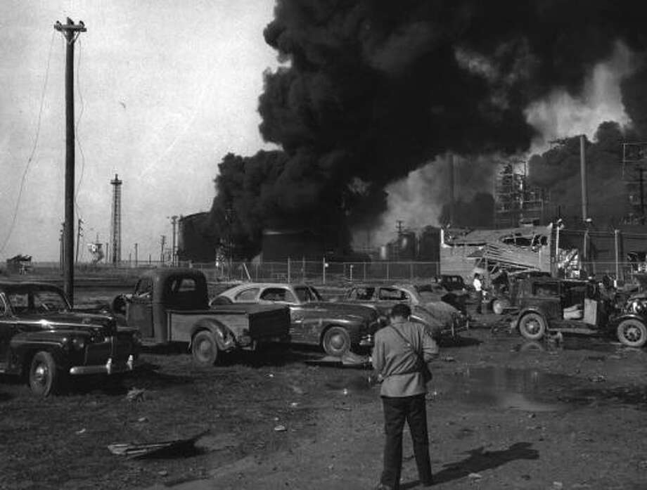 April 16, 1947: Story Sloane Jr. photographing damage at Texas City.Read more: Newly discovered photos show extent of destruction Photo: Story Sloane Jr.