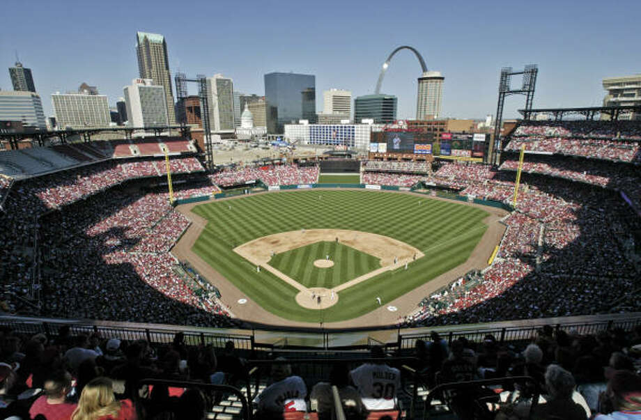 The St. Louis Cardinals take on the Milwaukee Brewers in the inaugural game at Busch Stadium in 2006. Photo: TOM GANNAM, AP