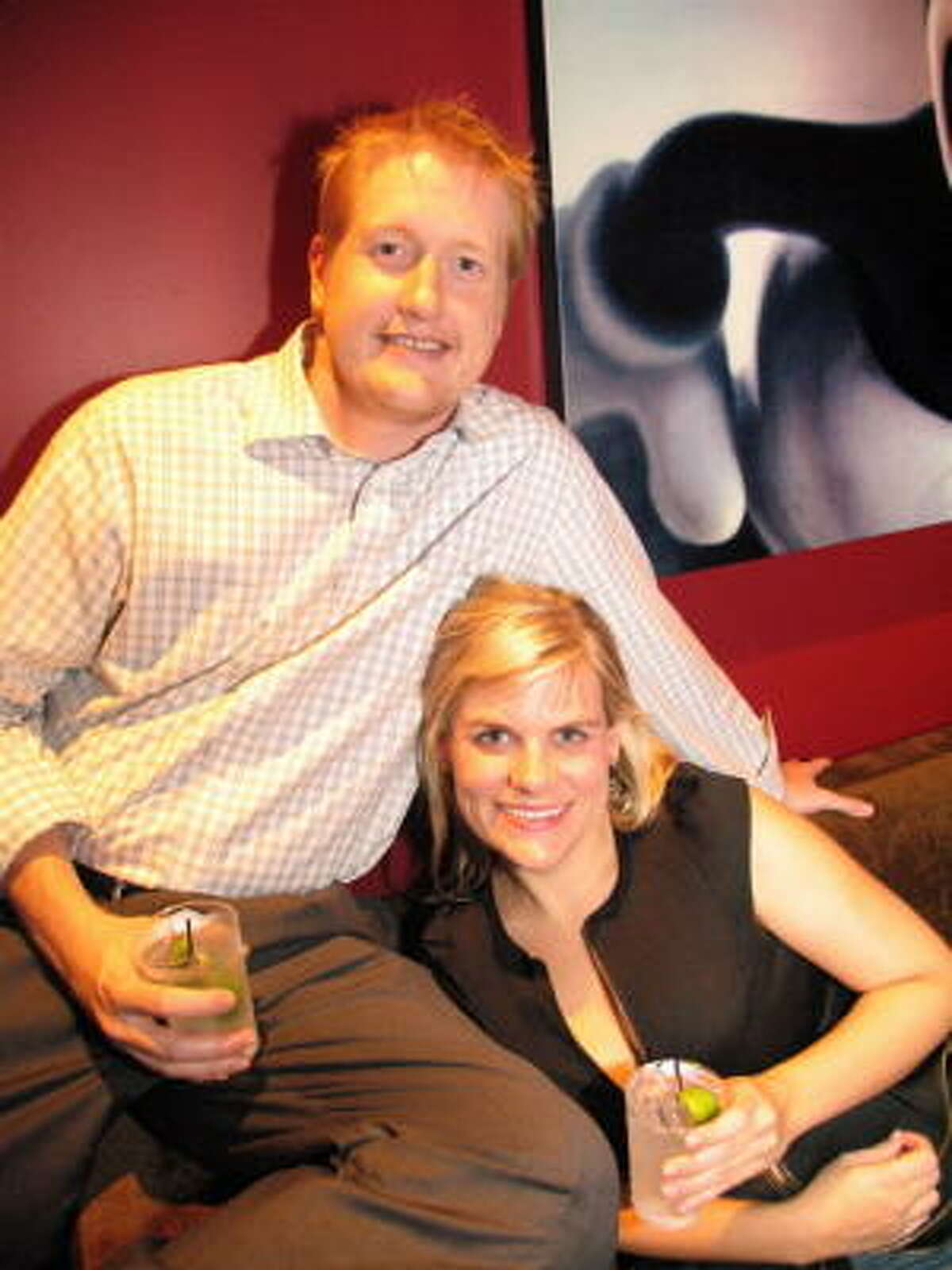 Lucky Strike is a bowling lounge with a full bar, great food and nightclub atmosphere. Pictured: Stephen Jones, left, and Liz Gorman