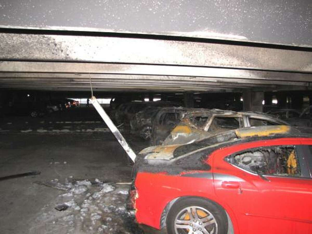 Ten cars were damaged in the fire.