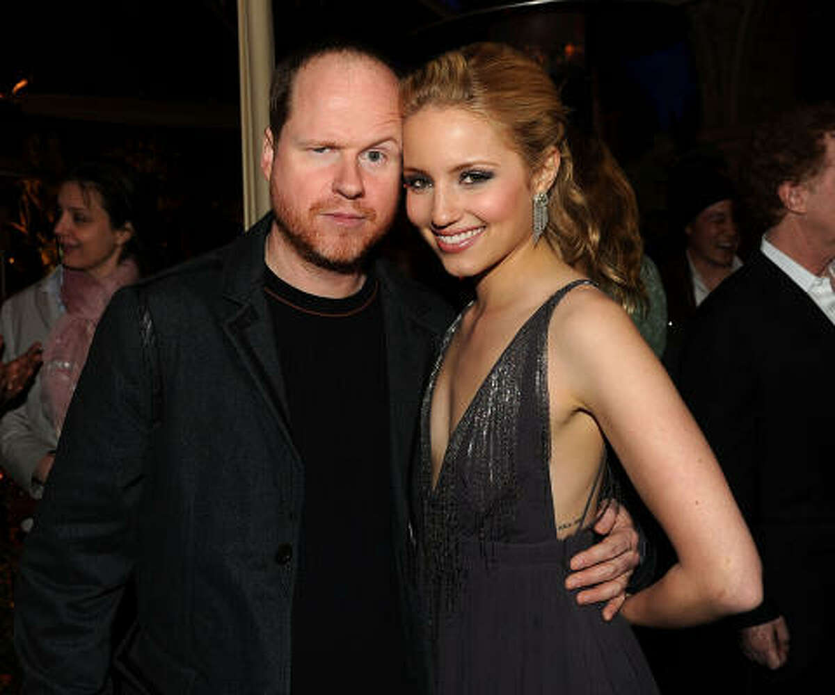 Director Joss Whedon (L) and actress Dianna Agron attend Fox's party. The second episode this spring features Madonna songs and might