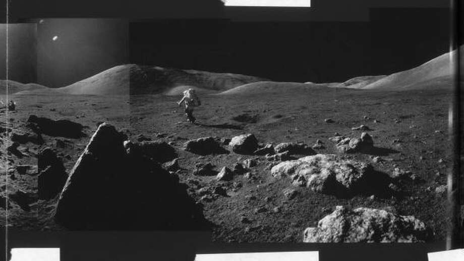 Part of a photo composite shot by Apollo 17's Gene Cernan in 1972. Harrison Schmitt is at left. Photo: NASA, Knopf File