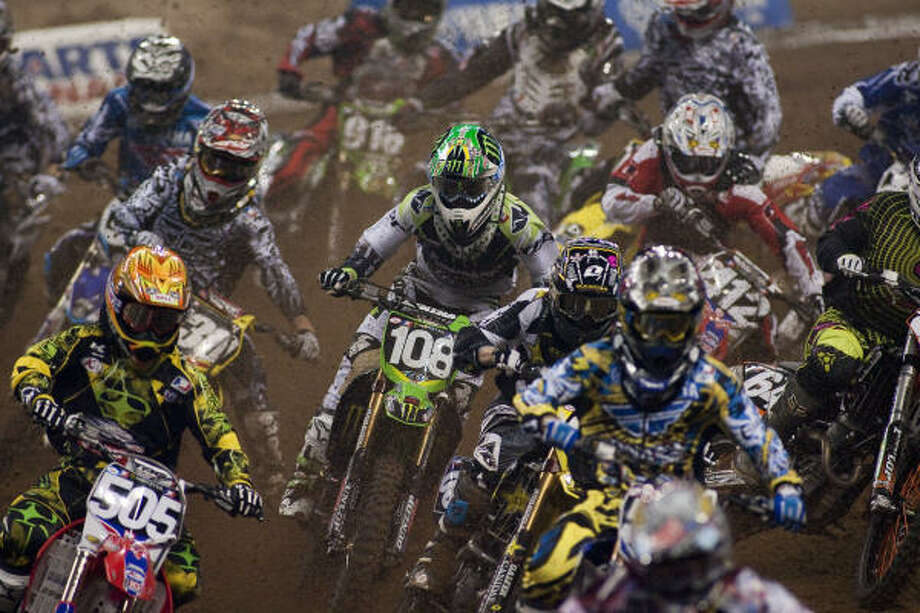 The AMA Supercross series opened Saturday evening at Reliant Stadium. Ryan D. Villopoto, who won the last event March 27 in Jacksonville, Fla., is second in the series point standings to Ryan Dungey, who finished second in Jacksonville. Photo: Nathan Lindstrom, For The Chronicle