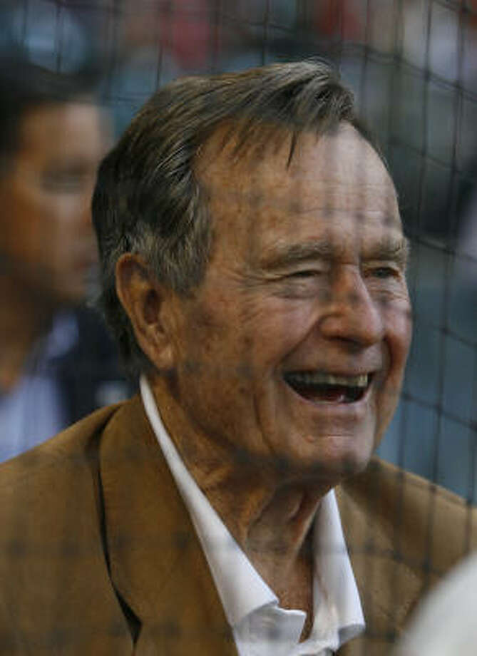 Former President George H. Bush watches the Astros play the Phillies during Turn Back the Clock to 1965 Night. Photo: Karen Warren, Chronicle