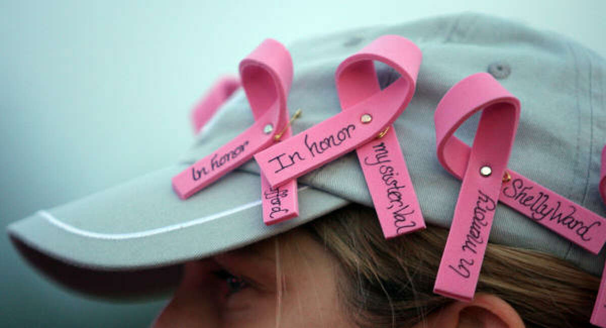 Becky Simpson, 37, of Conroe, walks for her mom and sister who are cancer survivors.