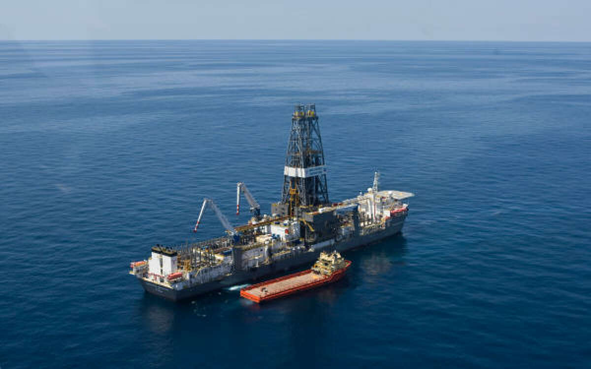 A supply vessel is shown next to the Discoverer Inspiration. Chevron is drilling an exploration well into Moccasin Prospect on Transocean's Discoverer Inspiration, an ultra-deepwater drillship, located about 240 nautical miles from Leesville, Louisiana in the U.S. Gulf of Mexico.