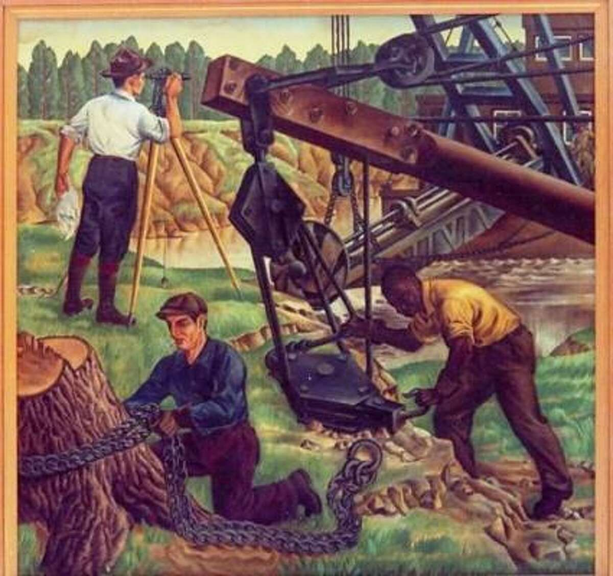 "Workers survey and dredge the ship channel in this 1941 painting by Alexandre Hogue titled ""Houston Ship Channel – Early History."""