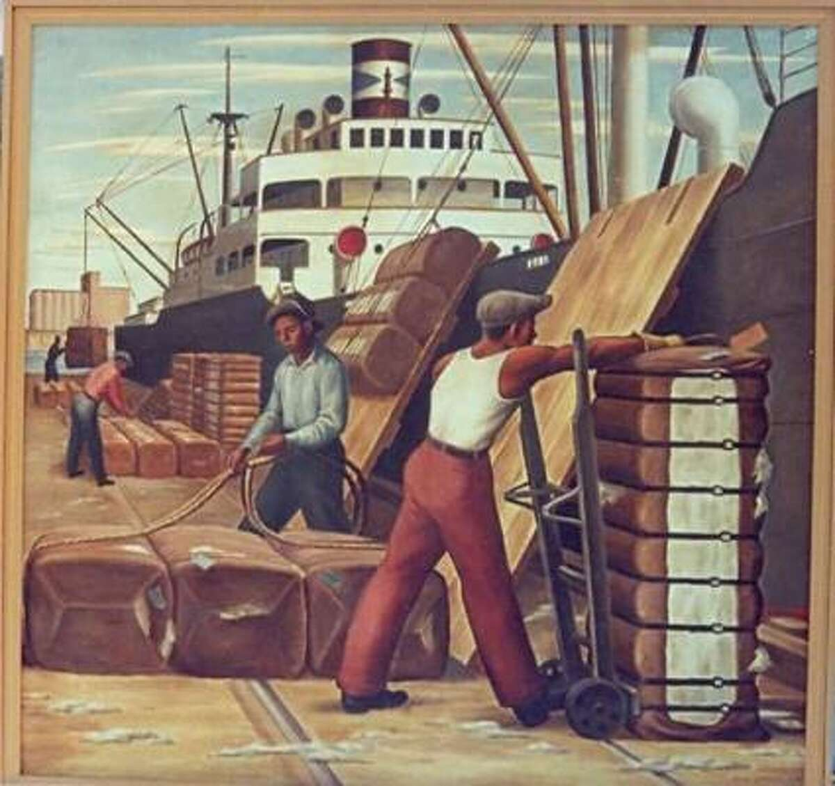 "Painter Jerry Bywaters' 1941 piece, ""Loading Cotton,"" is among the New Deal-era works that will be displayed in the federal courthouse."
