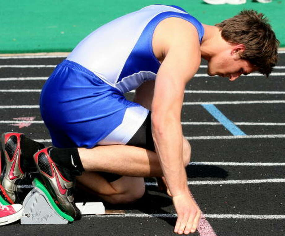 Cy-Creek's Brent Micham is ready to go in his blocks. Photo: Gerald James, Chronicle