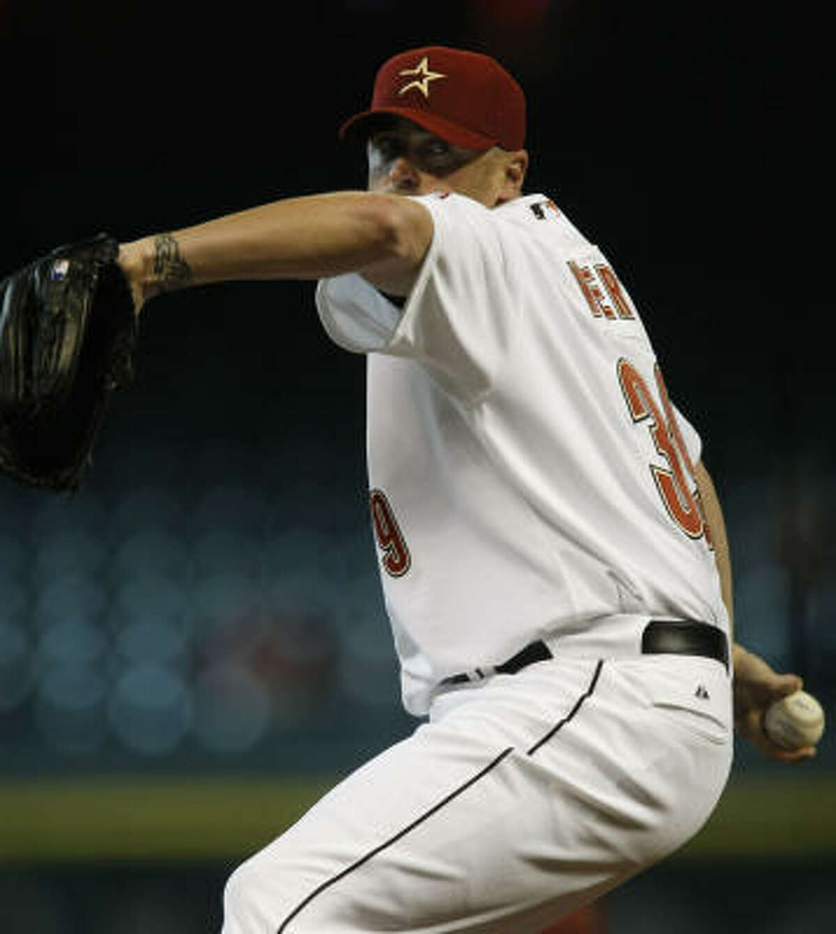 Brett Myers throws his first regular-season pitch as an Astro.