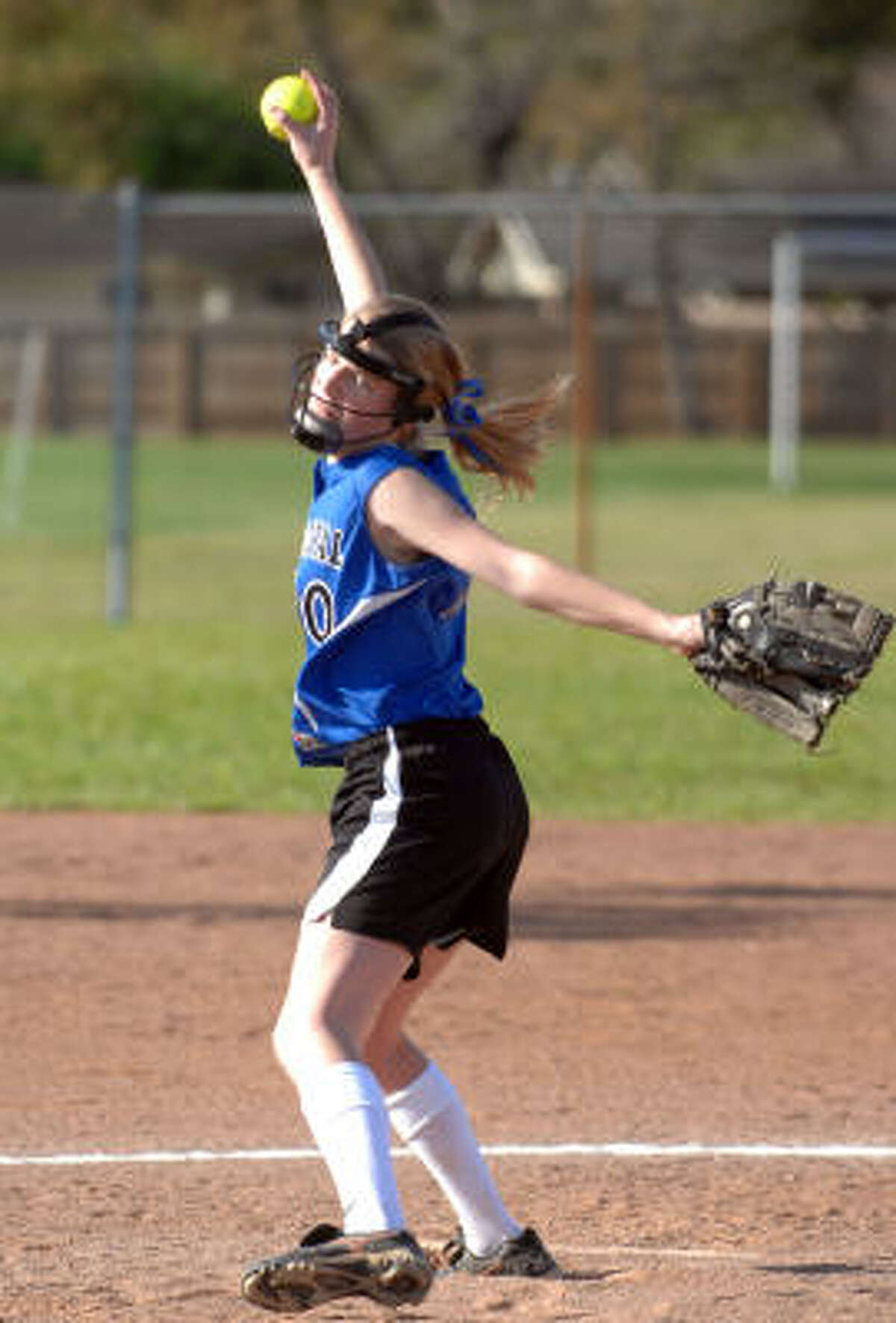 Episcopal starting pitcher Abigail Roberts winds up for a pitch.