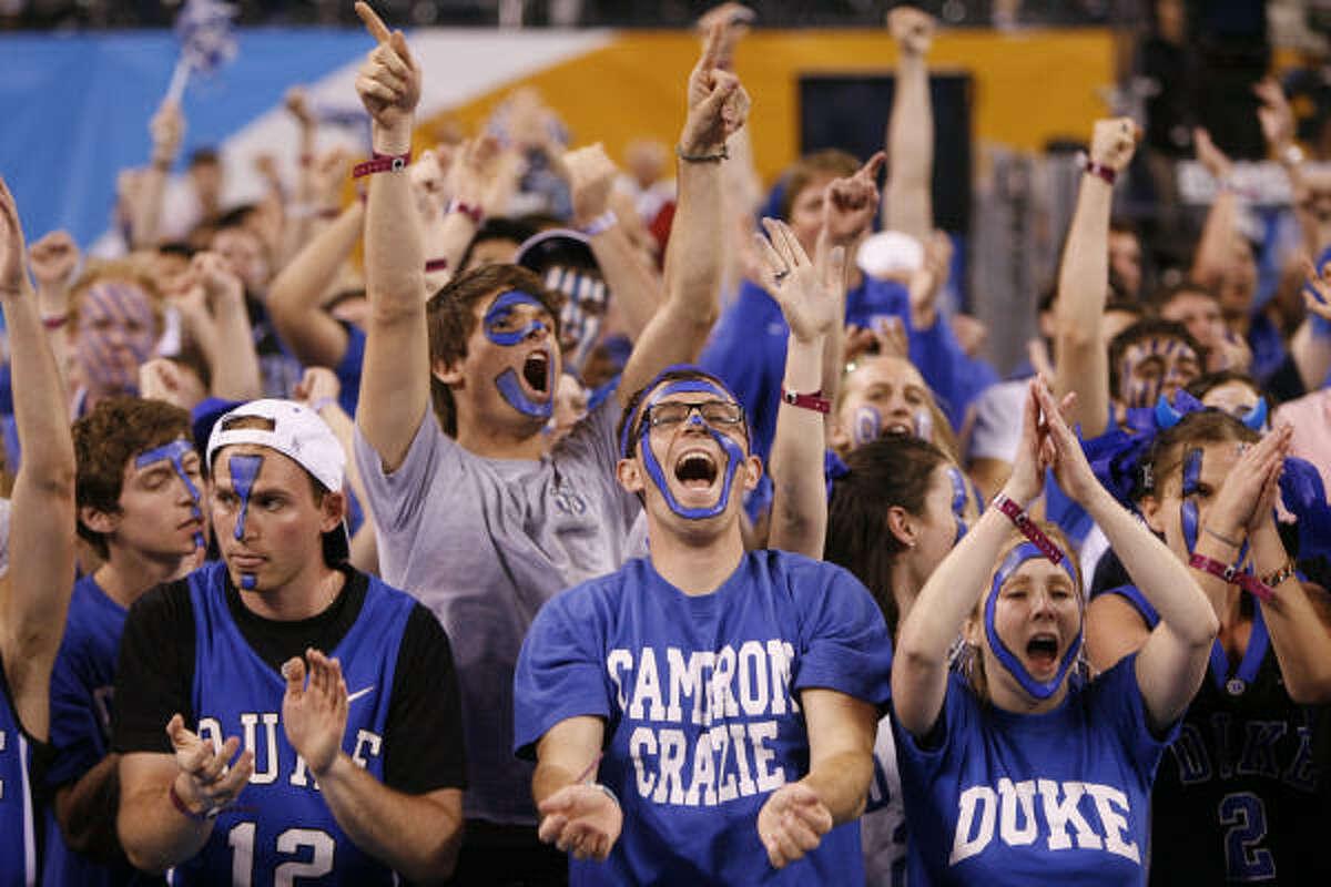 Duke fans cheer before the start of the 2010 NCAA Men's Final Four basketball championship game.