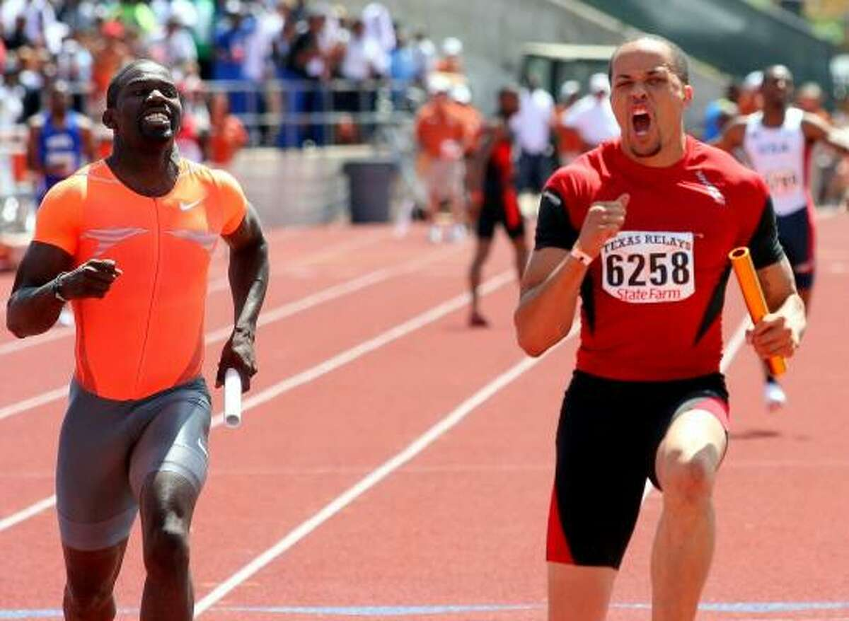 World class sprinter Wallace Spearmon, right, ran the 400-meter relay with Team USA Blue.