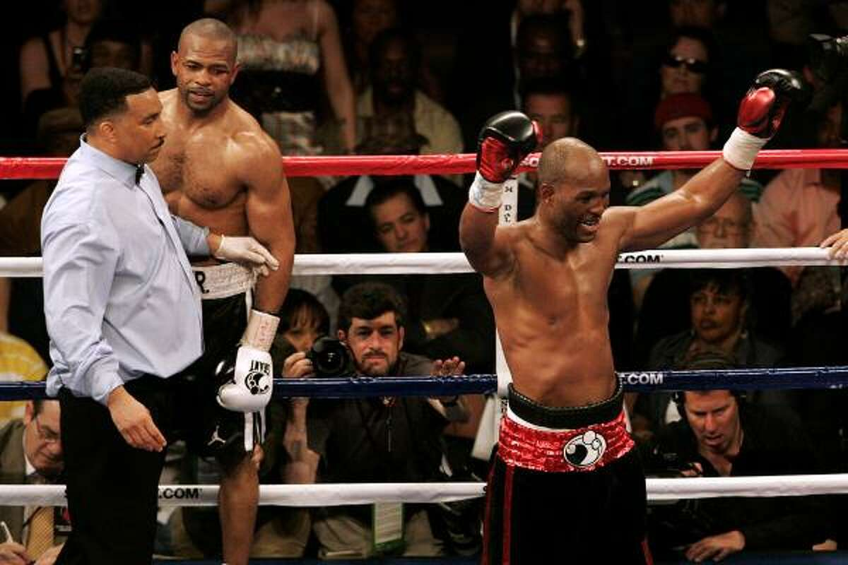 Bernard Hopkins celebrates after the end of the 12th round of his rematch against Roy Jones Jr., at the Mandalay Bay Events Center in Las Vegas. Hopkins won a unanimous decision over Jones who beat him in 1993.