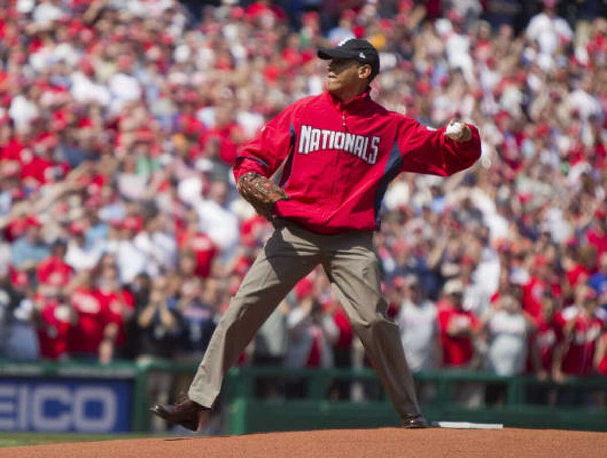 PRESIDENTIAL FIRST PITCHES Wearing a Washington Nationals jacket and a Chicago White Sox hat, President Barack Obama marked a 100-year tradition by throwing out the ceremonial first pitch at the Washington Nationals home opener against the Philadelphia Phillies on Monday.