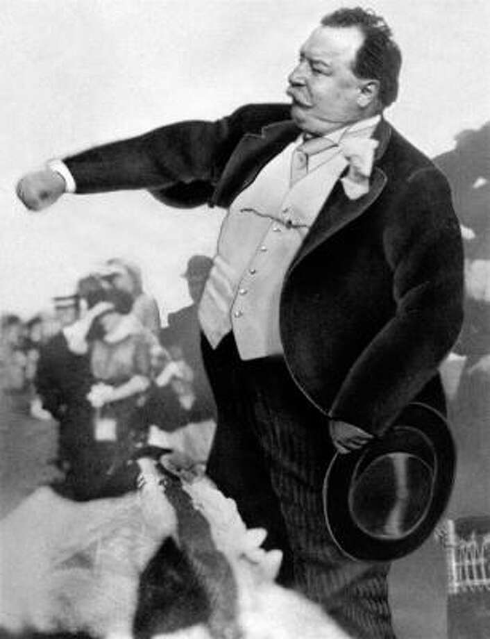 One hundred years ago this month, President William Howard Taft started a baseball tradition by throwing out the ceremonial first pitch to pitcher Walter  Johnson at the Washington season opener. Photo: AP