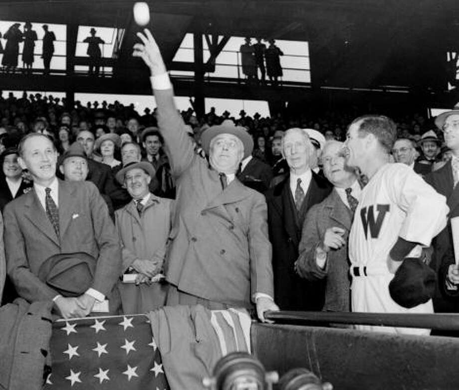 President Franklin D. Roosevelt threw out a record eight Opening-Day pitches. Photo: AP