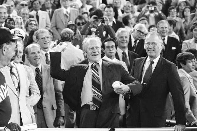President Gerald Ford throws the ceremonial first pitch in 1976. Photo: AP