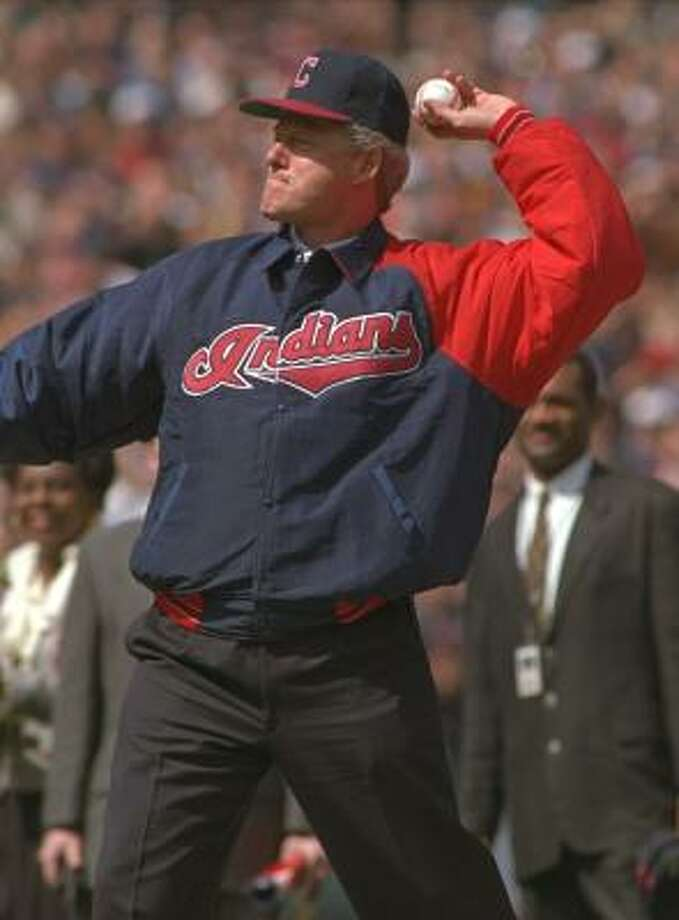 President Bill Clinton throws the ceremonial first pitch at Cleveland's Jacobs Field in 1994. Photo: Mark Duncan, AP