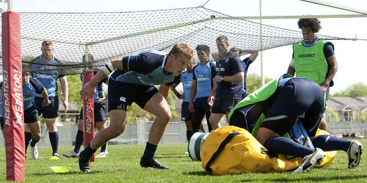 Katy's Hunter Leyland participates in one of the drills at training camp with the U.S. men's rugby team.