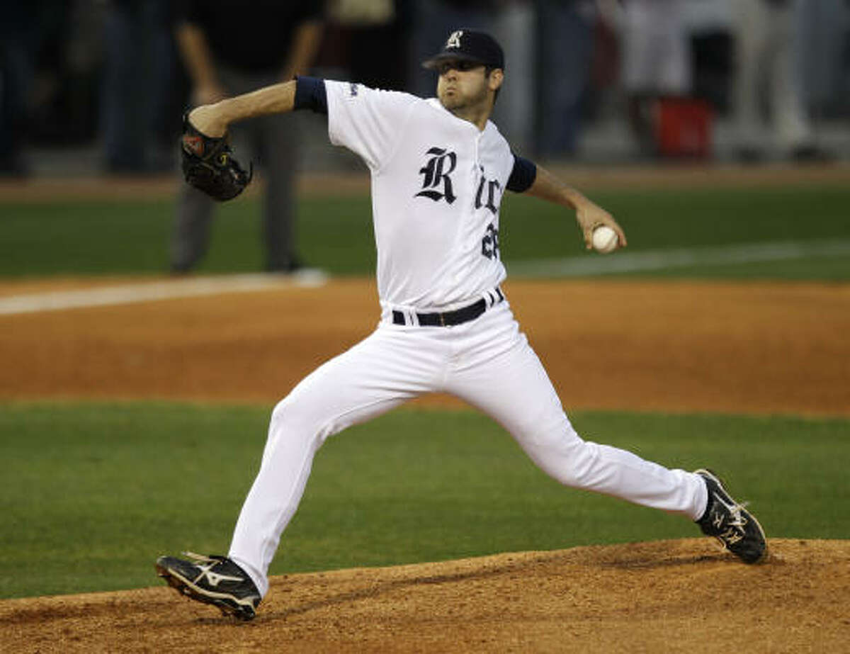 Rice pitcher Taylor Wall threw a one-hit shutout for his first win of the season.