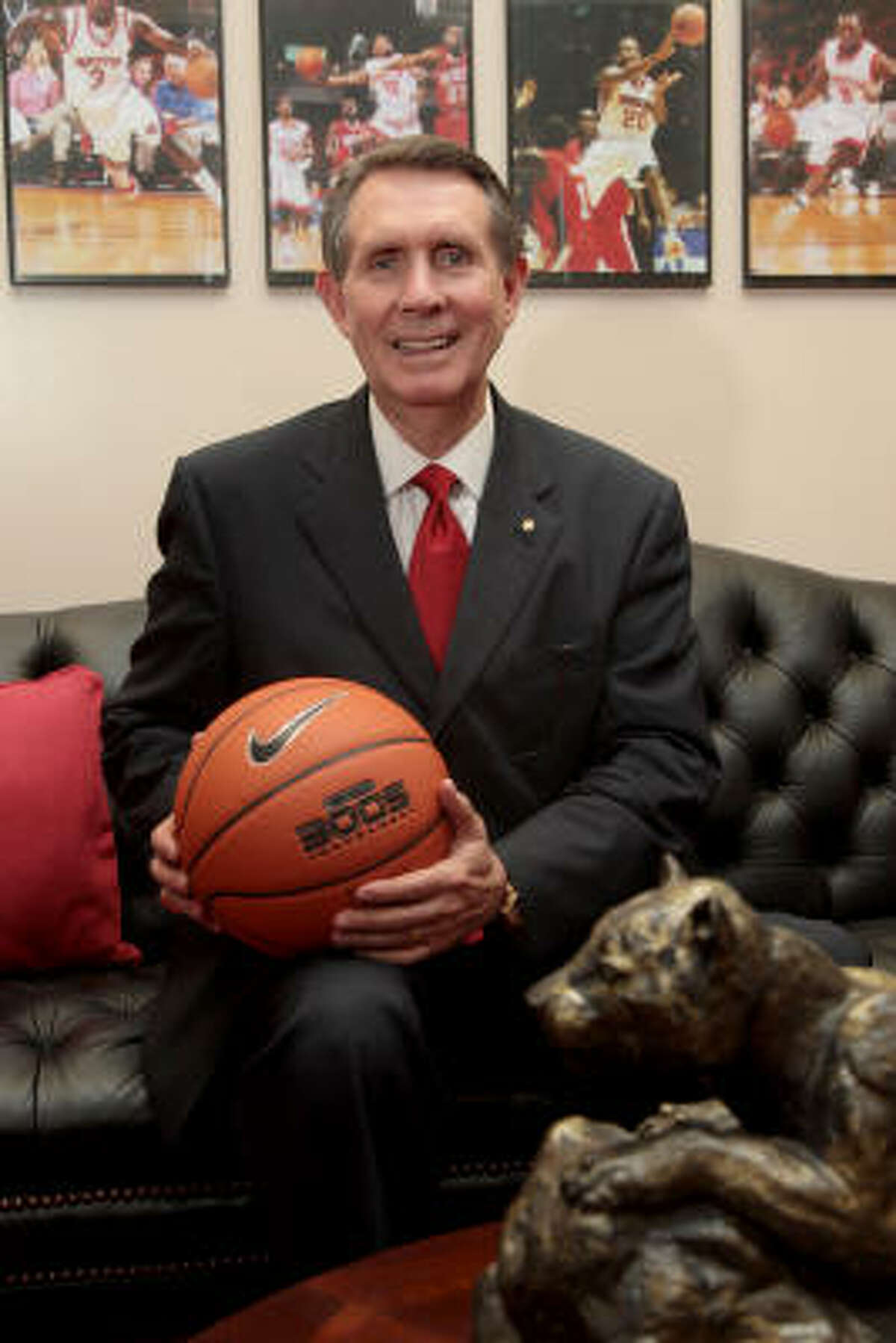 James Dickey sits in his new office on the University of Houston campus. Dickey led Texas Tech to the NCAA Tournament twice and was the Southwest Conference Coach of the Year twice during his 10 years (1991-2001) with the Red Raiders.