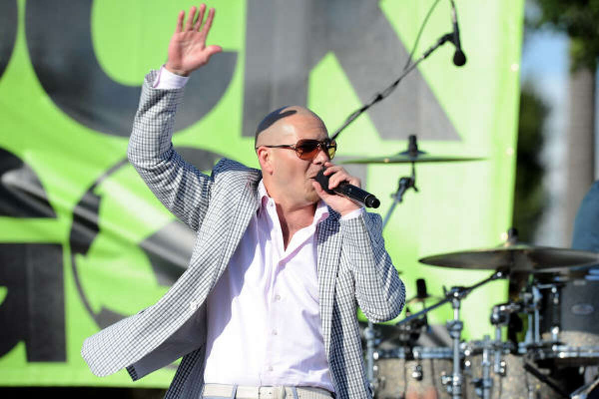 Singer Pitbull performs at the event, held at the Home Depot Center in Carson, Calif.