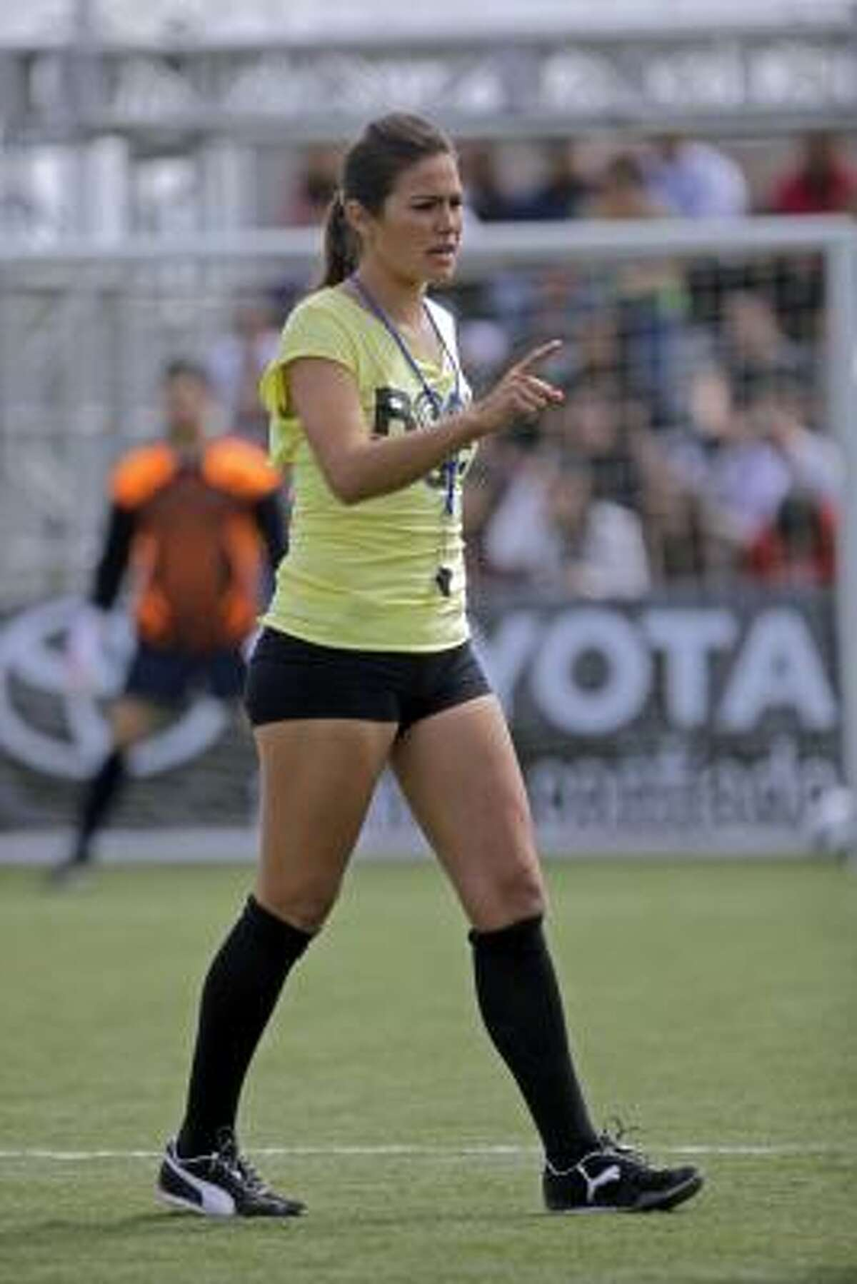 Fox Soccer Channel's Temrysse Lane referees a celebrity soccer match at the Home Depot Center on Wednesday, March 31, in Carson, Calif.