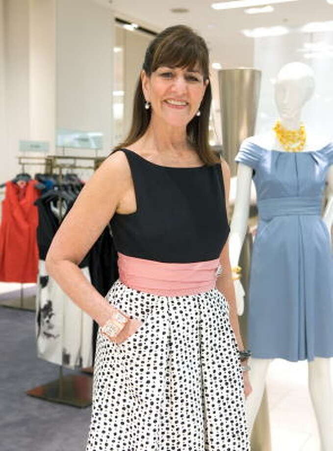 Fashion designer Kay Unger in one of her own creations. Her Phoebe Couture line is a favorite among Gossip Girl and Ugly Betty castmates. Photo: Jamie Couch Karutz, SPECIAL TO THE EXPRESS-NEWS