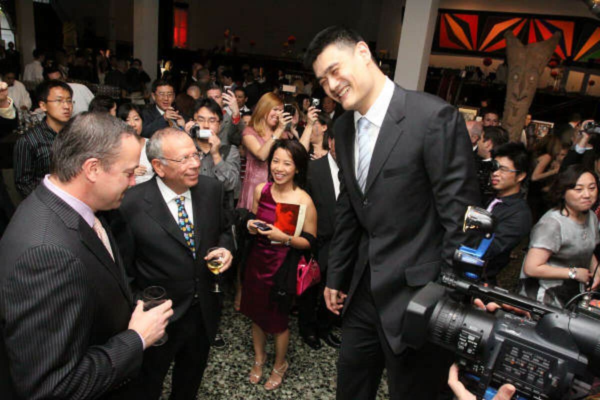 Ted Brown, Les Alexander, Emma Haywood and Yao Ming at the Yao Ming Foundation Gala at the Museum of Fine Arts, Houston.