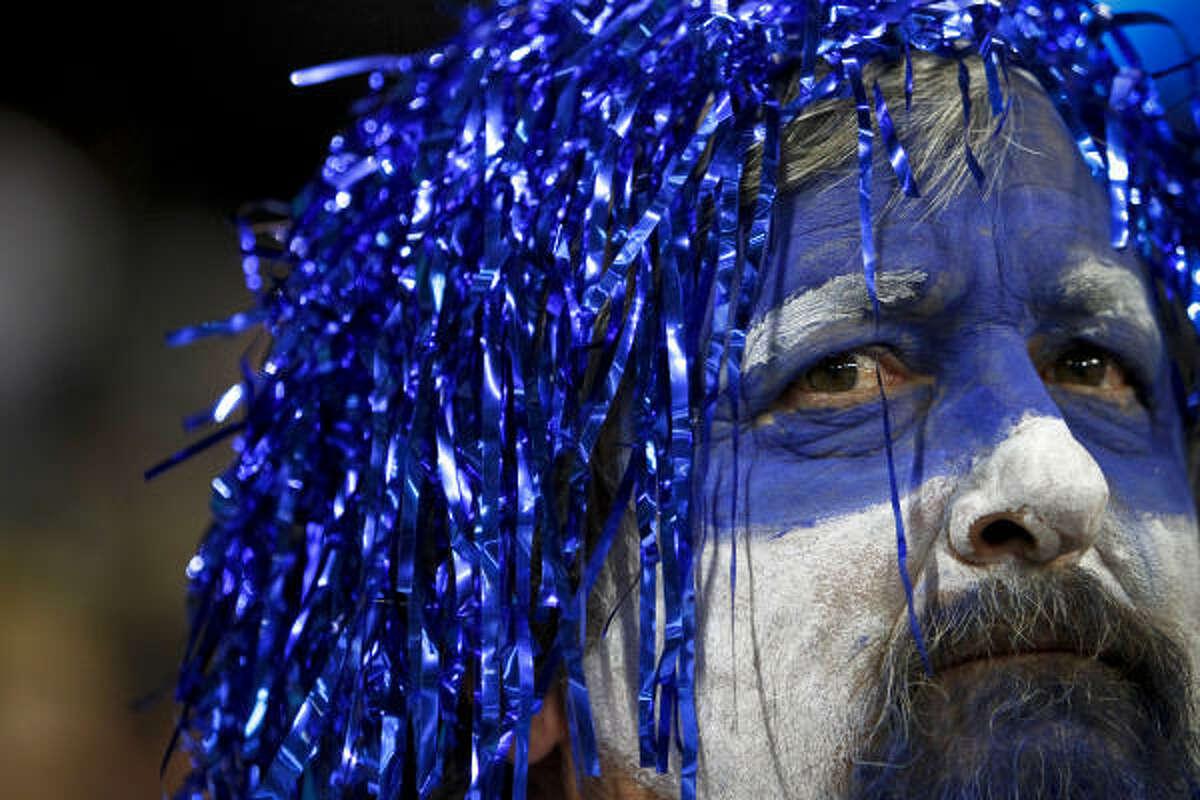 Skip Hutnek supports Duke during the Duke-Purdue matchup at Reliant Stadium Friday.