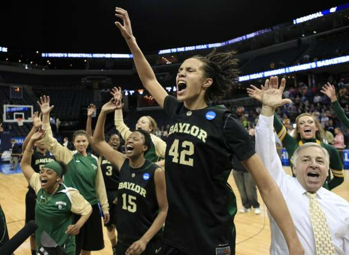 Baylor's Brittney Griner, 42, and Shanay Washington, 15, celebrate after Baylor beat Duke.