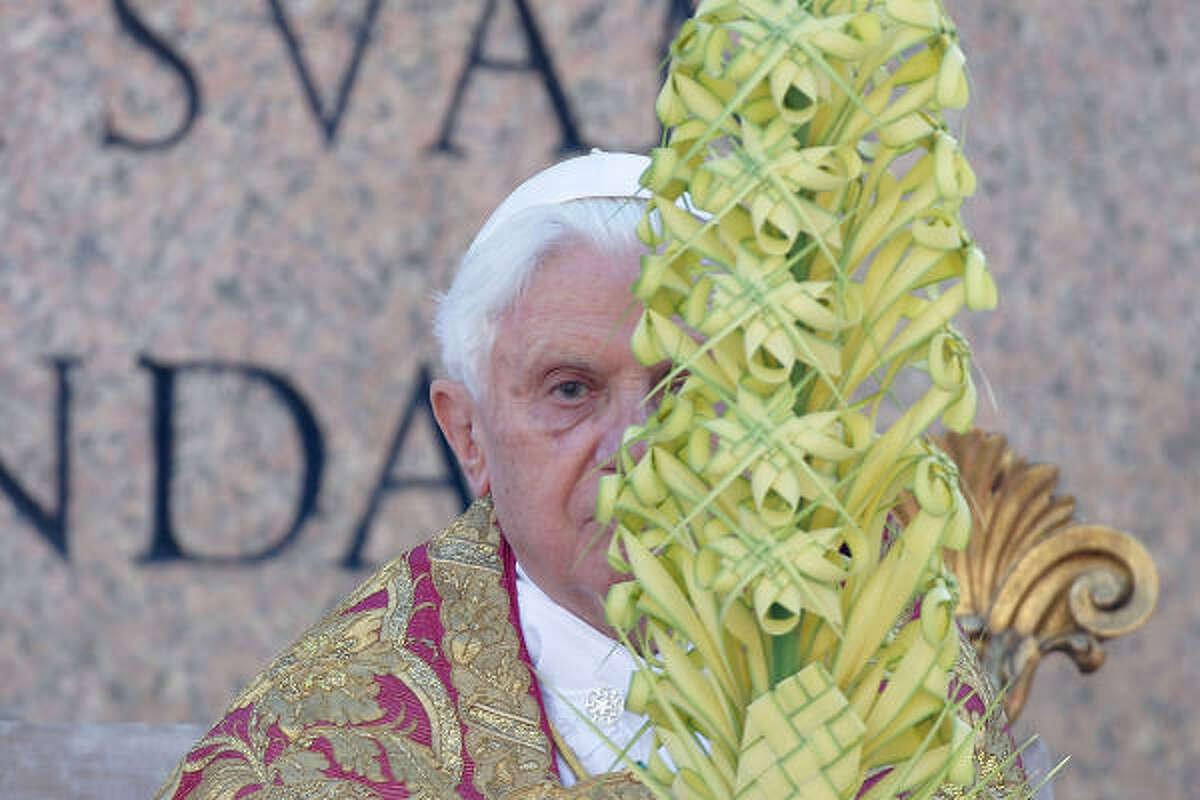 Pope Benedict XVI attends Palm in Vatican City, Vatican.