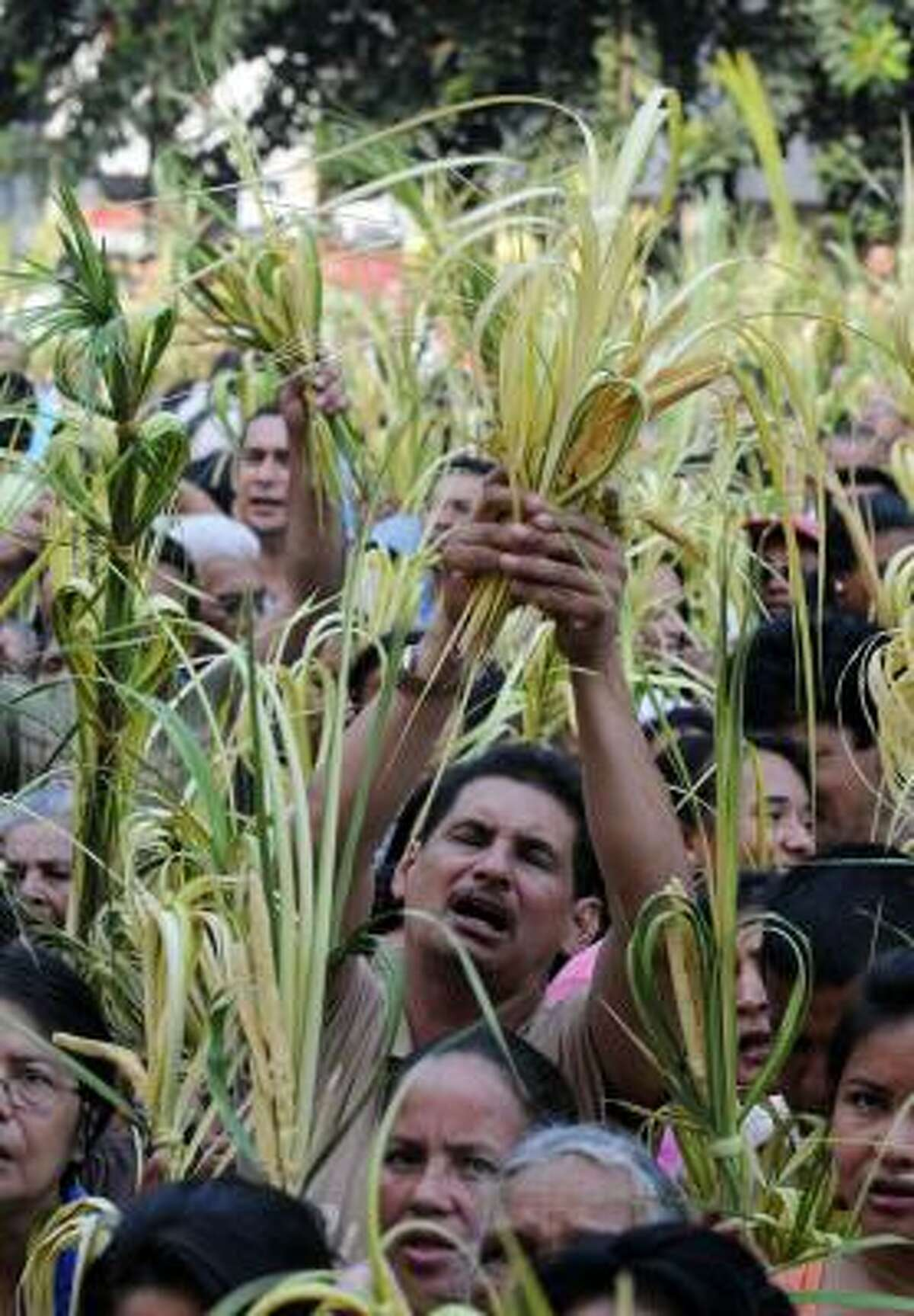 Christian worshippers take part in the traditional Palm Sunday procession in Tegucigalpa, Honduras. Palm Sunday marks the sixth and last Sunday of the Christian Holy month of Lent and the beginning of Holy Week.