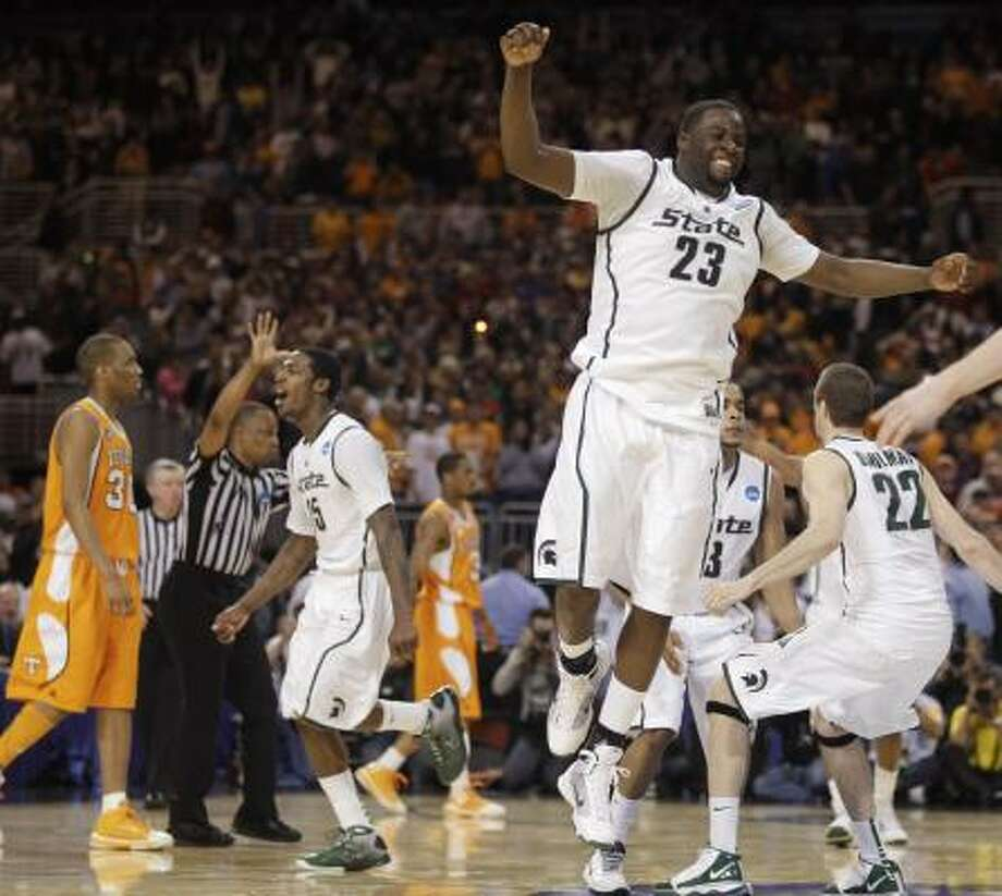 Midwest final: No. 5 Michigan State 70, No. 6 Tennessee 69Draymond Green (23) and Isaiah Dahlman celebrate Michigan State's second straight Final Four berth. Photo: Jeff Roberson, AP