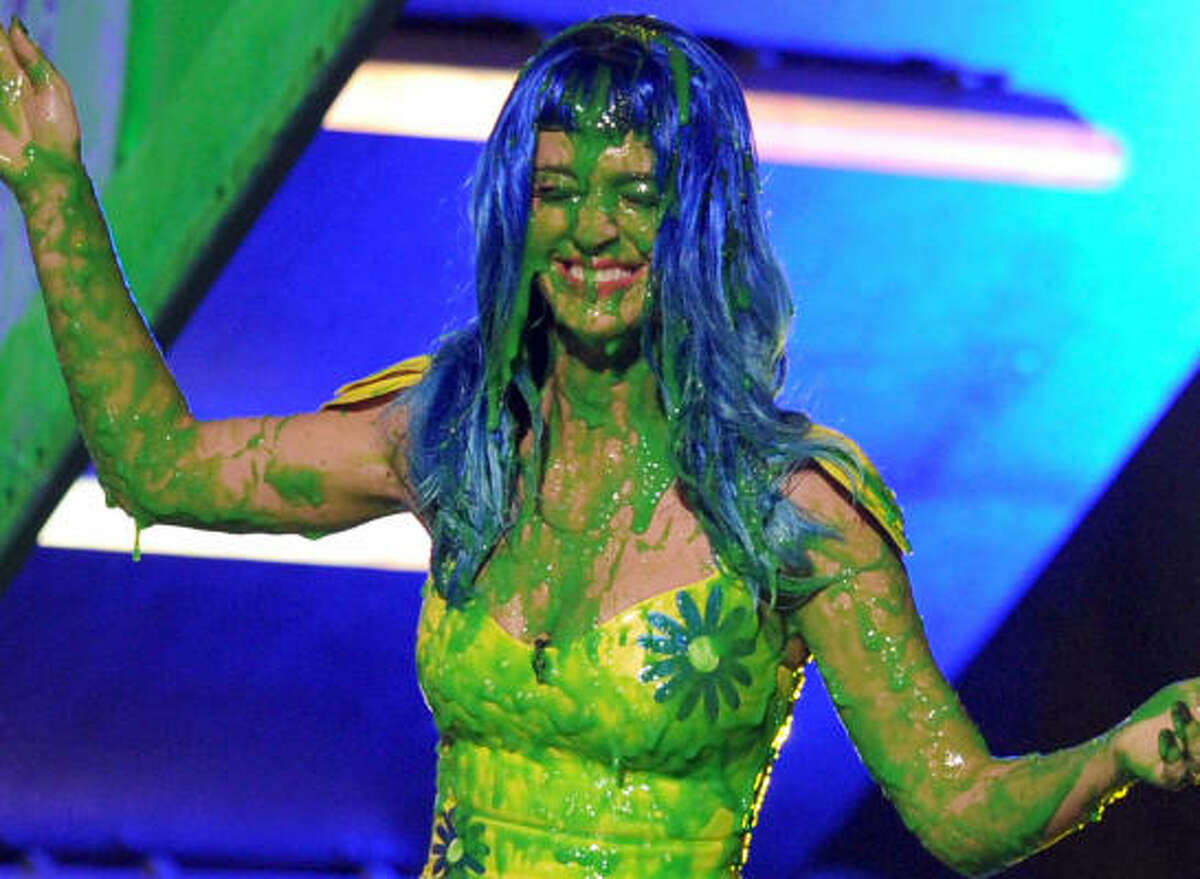 Singer Katy Perry wears her green badge of honor with pride at the show in Los Angeles on March 27.
