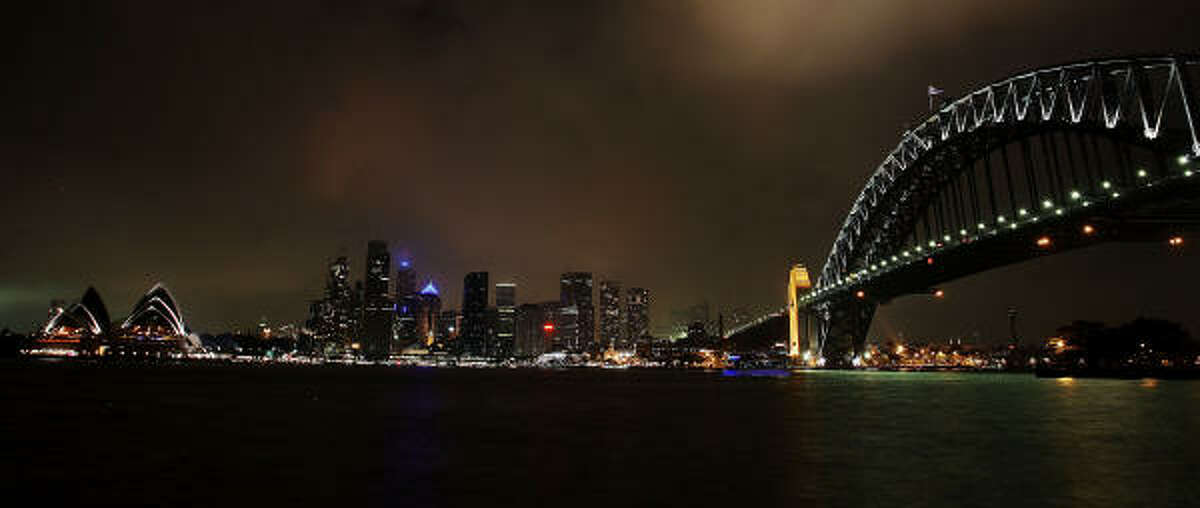 The Sydney skyline is seen before the lights are switched off for Earth Hour on March 27, 2010 in Sydney, Australia.