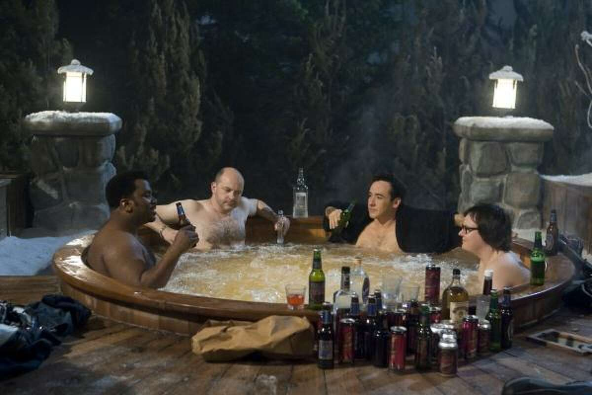 Critic Amy Biancolli describes the time-travelers in Hot Tub Time Machine as Nick (Craig Robinson), a whipped family man who longs for his glory days as a cover-band frontman; Lou (Rob Corddry), a misanthropic, alcoholic, nihilistic, misogynistic, foul-mouthed pig determined to take advantage of the 1980s' party-hearty atmosphere; Adam (John Cusack), a sad-sack insurance salesman; and his nephew Jacob (Clark Duke), a computer-addicted goober.