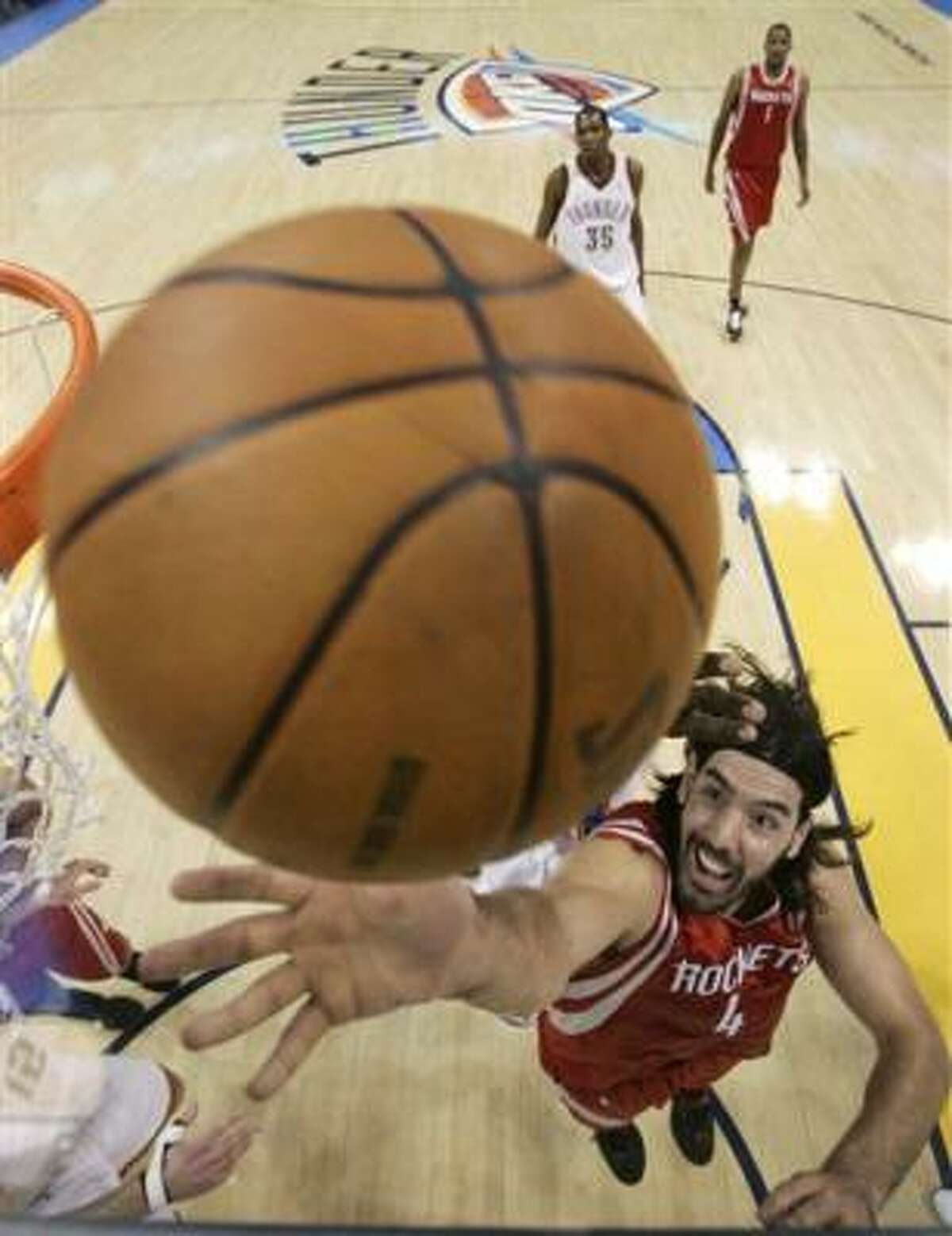Rockets forward Luis Scola finished with 25 points and six rebounds in the Rockets 122-104 loss to the Oklahoma City Thunder.