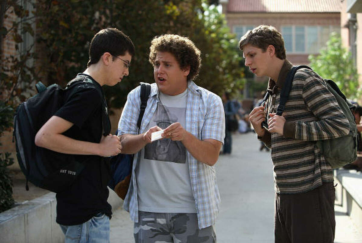 Wimps: Evan, Seth and Fogell (aka McLovin') aren't the suavest guys in town in Superbad.