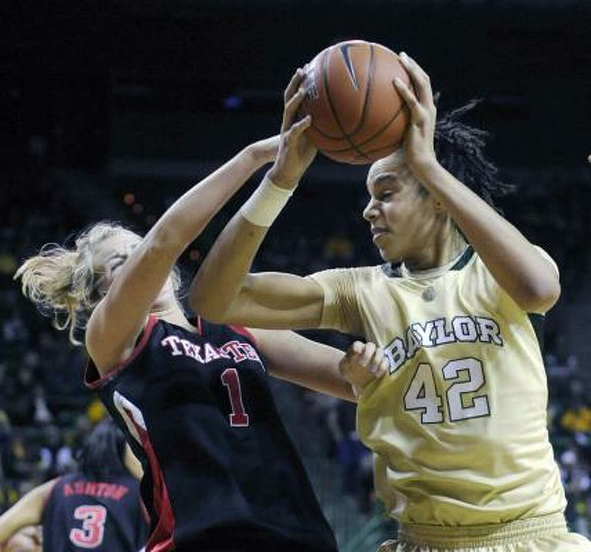 Baylor's Brittney Griner, a freshman from Nimitz, was ejected from the March 3 game against Texas Tech in the second half for throwing a punch at Jordan Barncastle.