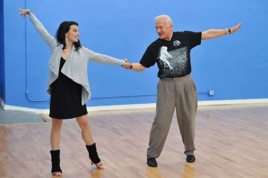 Who's that dancing with Ashly DelGrosso-Costa in prep for the show? Photo: Vince Bucci, AP