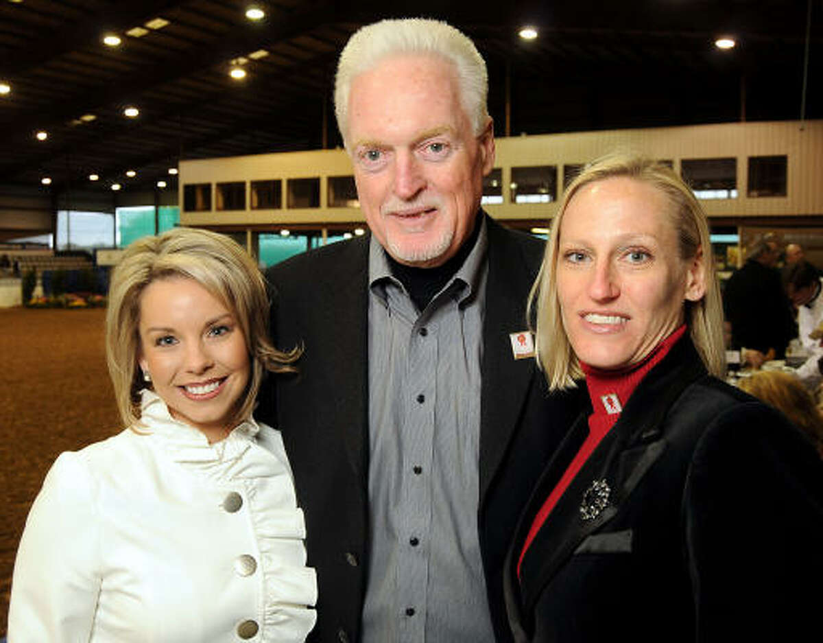 From left: Nikki Hart, Tom Murphy and Becky Murphy at a cocktail reception at the Pin Oak Charity Horse Show.