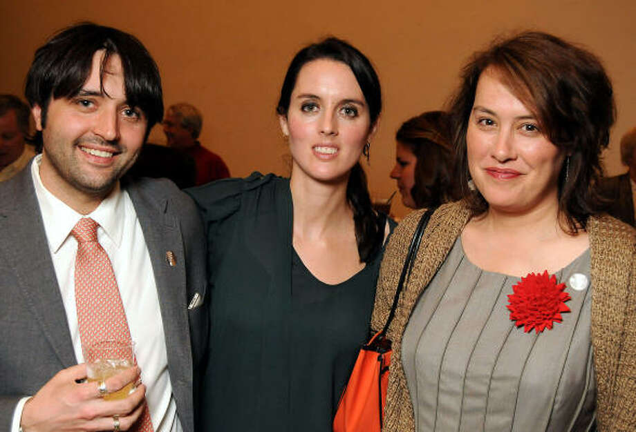 From left: Andrew Neel, Elizabeth Neel and Olivia Neel at the Alice Neel: Painted Truths members' preview at the Museum of Fine Arts, Houston. Photo: Dave Rossman, For The Chronicle