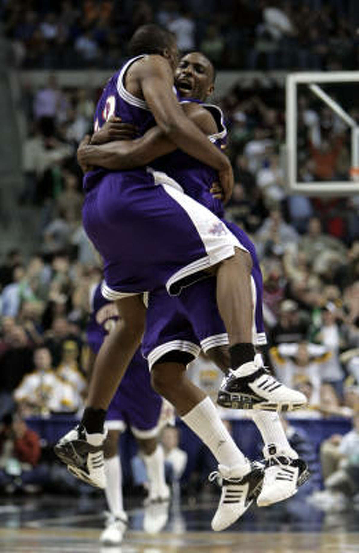2006: No. 14 Northwestern State 64, No. 3 Iowa 63 Jermaine Wallace (back to camera) hit a fadeaway 3-pointer with less than a second remaining as the Demon Deacons shocked the Big Ten champions. Northwestern State, the Southland Conference champion, trailed by 17 with less than nine minutes remaining.