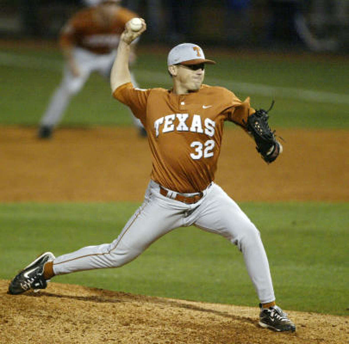 Longhorns pitcher Kendal Carrillo throws against the Owls.