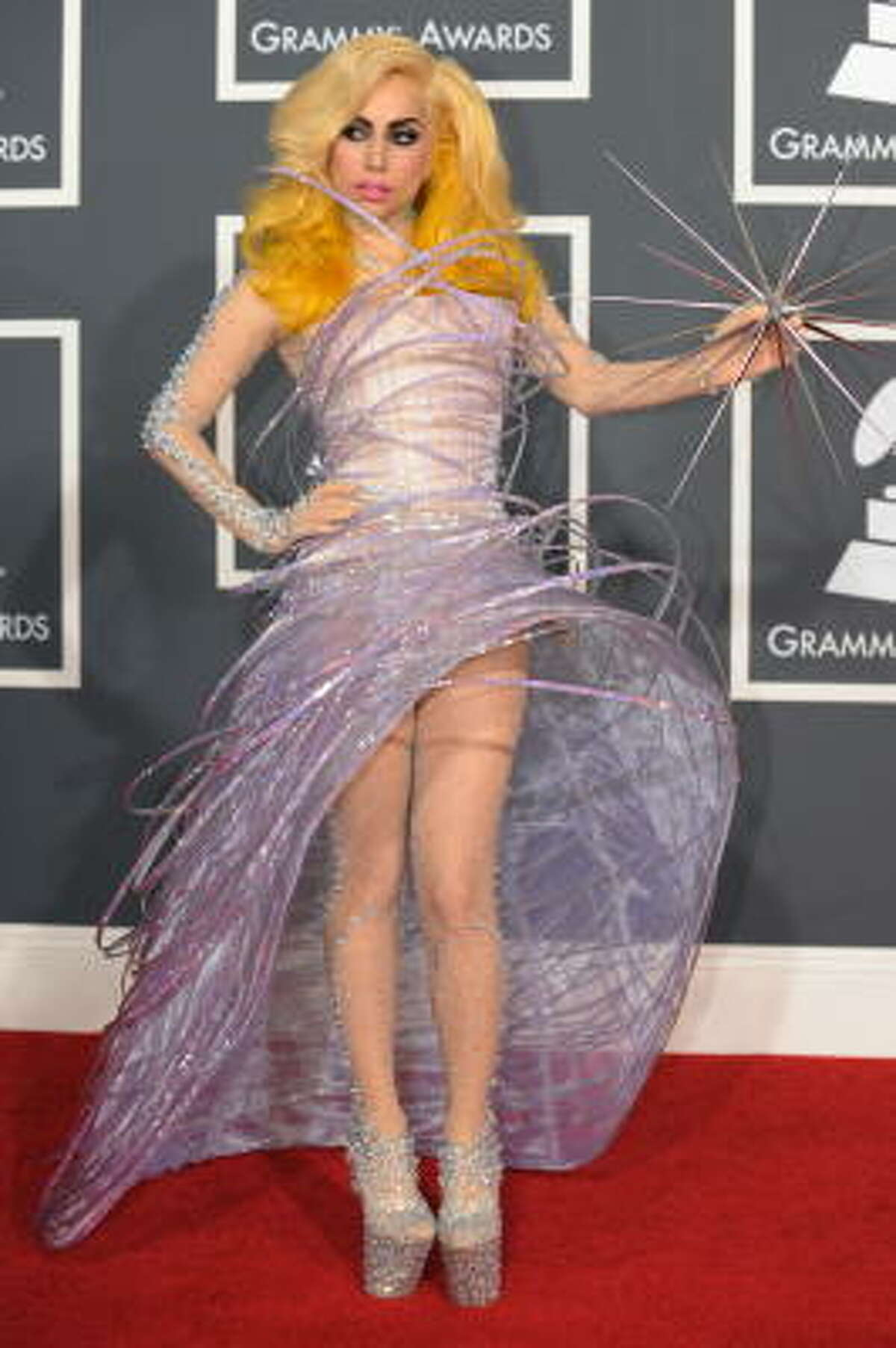 Lady Gaga arrived at the Grammys in this Armani creation.