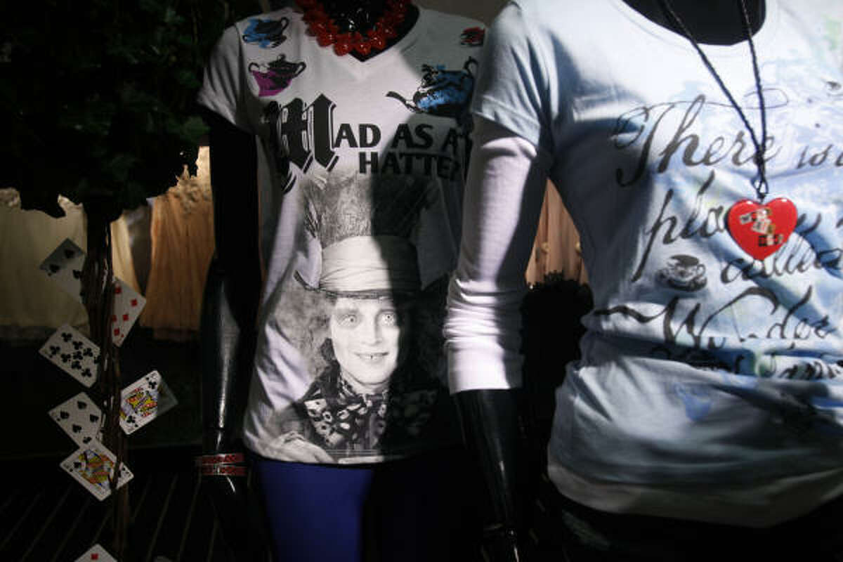 Clothes inspired by Alice in Wonderland are displayed in Bloomingdales in New York.