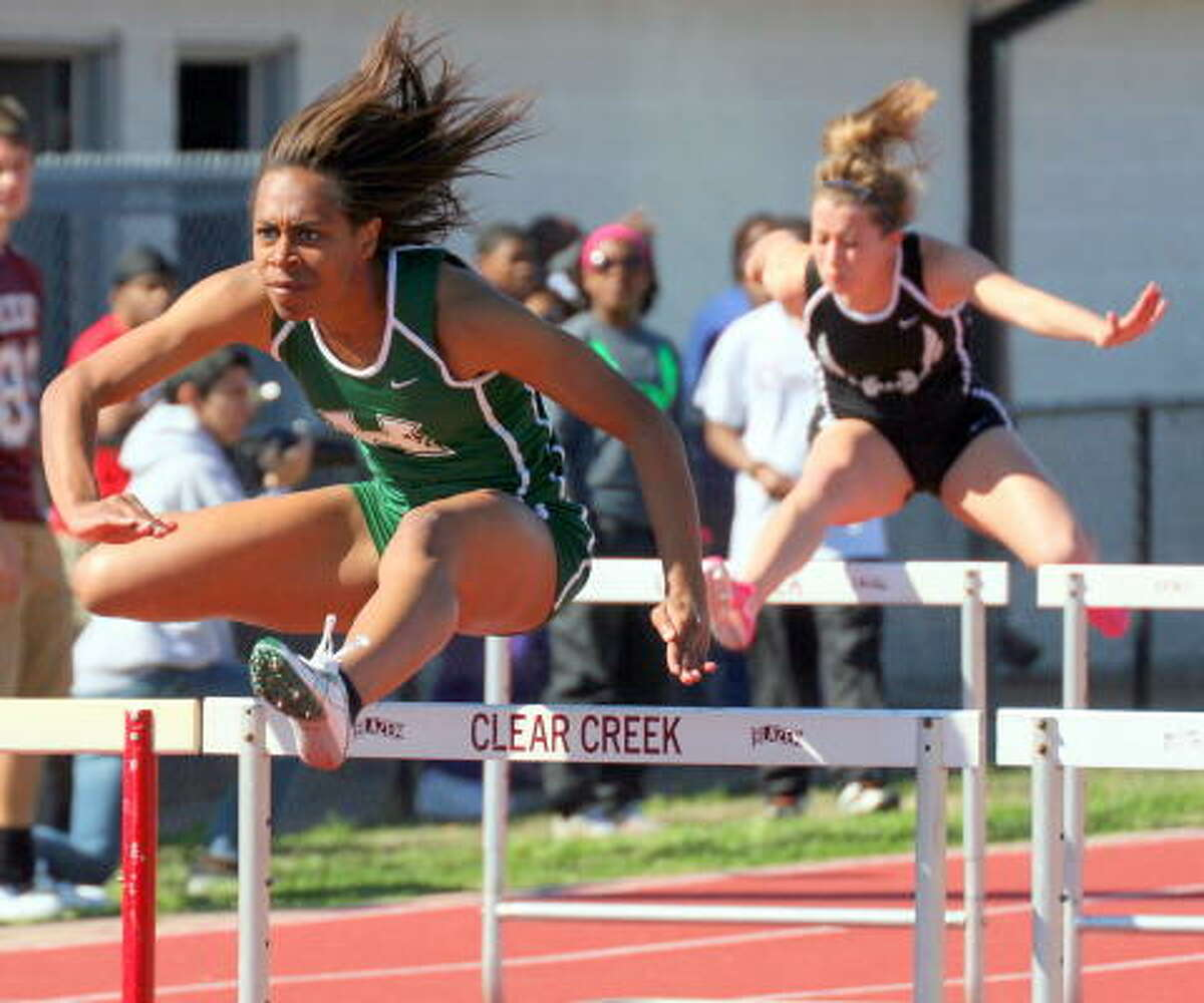 Hightower's Chelsea Stephen has the eye of the tiger in the 110-meter hurdles.