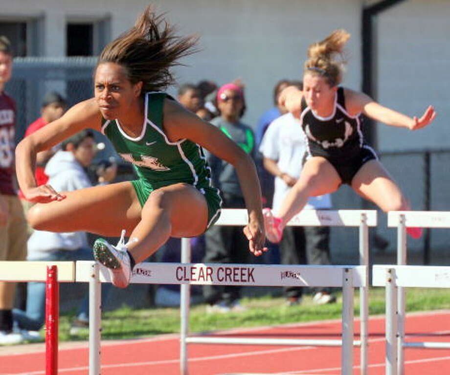 Hightower's Chelsea Stephen has the eye of the tiger in the 110-meter hurdles. Photo: Gerald James, For The Chronicle